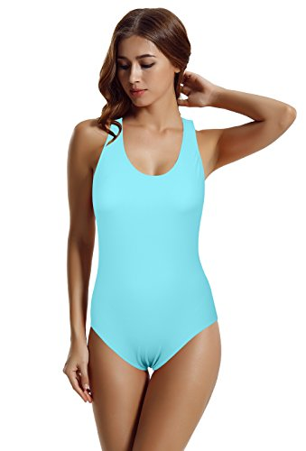 zeraca Women's Fashion Vintage Racerback One Piece Swimsuit Swimwear S6 Aqua Sky