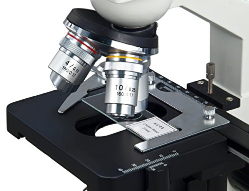 Awarded Best Compound Microscope 2016 - OMAX 40X-2000X Lab LED Binocular Microscope with Double Layer Mechanical Stage w Blank Slides Covers and Lens Cleaning Paper