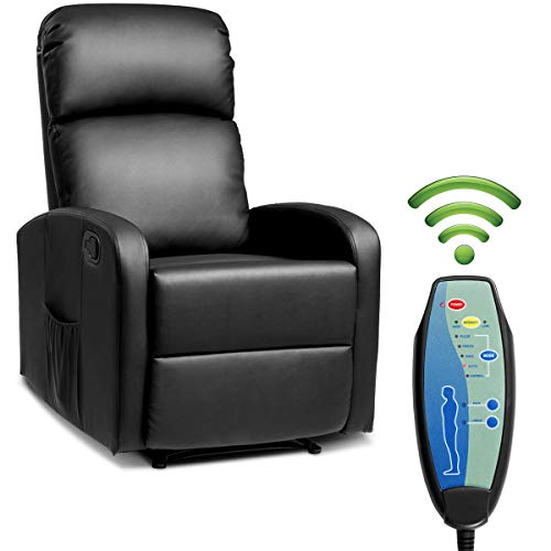 Giantex Massage Recliner Chair w/Remote Control, 5 Vibration Modes, Adjustable Footrest Design, PU Leather & Padded Seat, Modern Ergonomic Lounge Chaise for Living Room Office (Black) ()