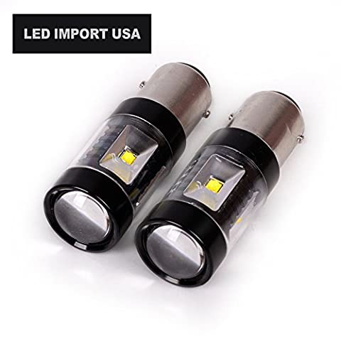 Led import usa 30W 1157 2057 2357 7528 BAY15D P21/5W Dual Brightness LED Lights Bulbs with Projector for Turn Signals Reverse Backup Brake Tail Lights Xenon (71 Chevelle Led Tail Lights)