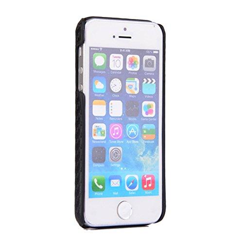 iPhone SE 5SE 5 5S Coque, Moonmini® PU Cuir haut de gamme Snap-On Housse de protection pour Apple iPhone SE 5SE 5 5S, Fibre de carbone