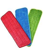 قطع تنظيف مايكروفايبر قابلة للغسل للاستخدام مع الشرشوبة البخاخة ومساحة موب الجافة، 3 قطع