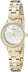 GUESS Women's U0693L2 Feminine Gold-Tone Watch with Self-Adjustable Bracelet