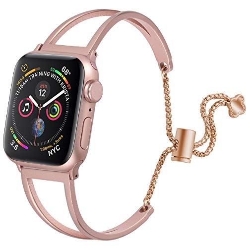(hooroor Bracelet Compatible for Apple Watch Band 38mm 40mm, Feminine Bangle Cuff with Clover Pendant for iWatch Bands Series 4 3 2 1 Stainless Steel Metal Wristband Strap, Rose Gold-38mm 40mm)