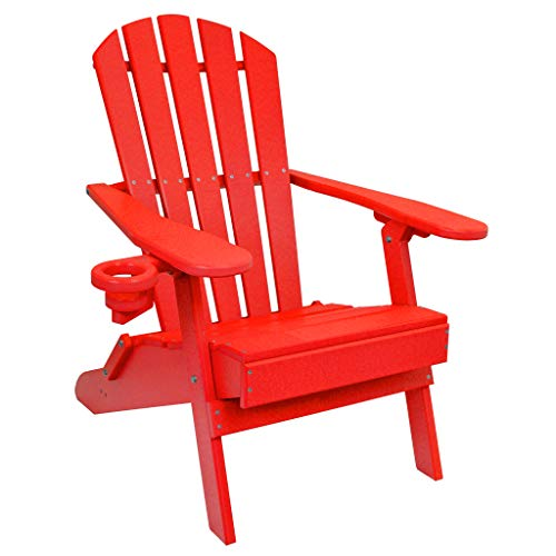 (ECCB Outdoor Outer Banks Value Line Poly Lumber Adirondack Chair (Bright Red))