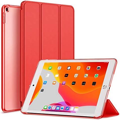 AOUB iPad 10.2 ケース 第7世代 2019モデル クリア 薄型 軽量 傷防止 オートスリープ/ウェイク 三つ折りスタンド スマートケース Apple iPad 10.2インチ 第7世代 2019用ハードカバー(iPad10.2, 赤い)