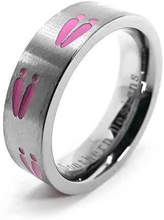 Deer Tracks Ring With Pink Tracks By Southern Designs for Ladies Hunting Outdoors Camping