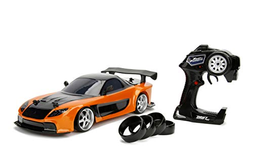 Jada Toys Fast & Furious Han's Mazda RX-7 Drift RC Car, 1:10 Scale 2.4GHz Remote Control Orange & Black, Ready to Run