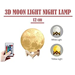 Newest Night Light CoolKo 12cm 3D Printed Lunar Moon Lamp, Rechargeable Home Decor White, Yellow, 3 Colors Dimmable Remote Controlled Brightness with Wooden Frame & Charging Cable
