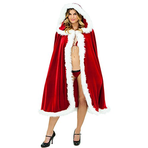 Riveroy Womens Christmas Cardigan Cloak Deluxe Velvet Mrs Santa Hooded Cape Costume
