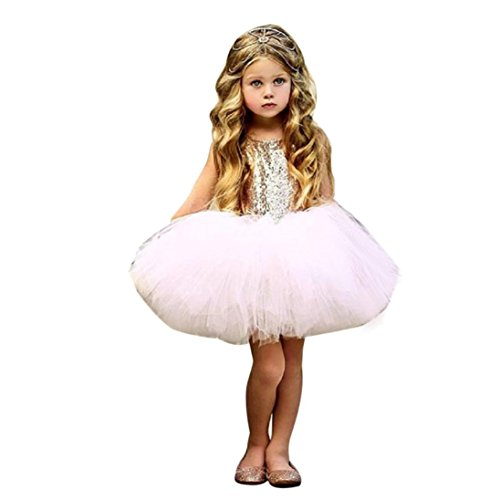 Baby Girl Dress ,Kintaz 2018 Clearance Summer Spring Toddler Kids Baby Girl Heart Sequins Party Princess Tutu Tulle Dress Outfits (Pink, - Clearance Peoples
