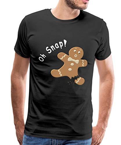 Oh Snap Gingerbread Man Christmas Men's Premium T-Shirt, 5XL, Black (Christmas Oh Snap T-shirt)