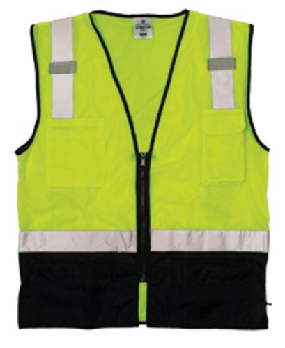 ML Kishigo 1509 Ultra-Cool Polyester Black Bottom Vest, Fits Large and Extra Large, Lime Black