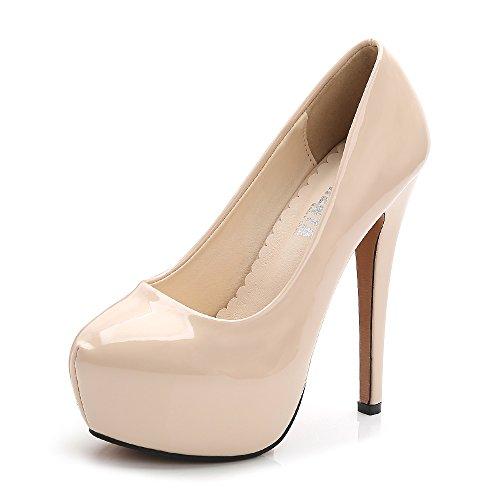 - Women's Round Toe Platform Slip On High Heel Dress Pumps Patent Leather Beige Tag 42 - US B(M) 10