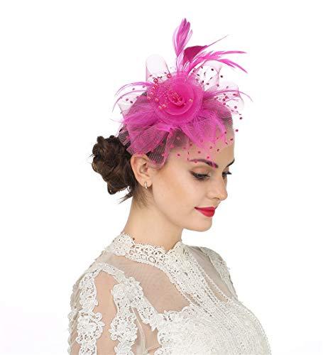 Fascinator Women's Organza Church Kentucky Derby British Bridal Tea Party Wedding Hat Summer Ruffles Cap (Hj4-Fuschia)