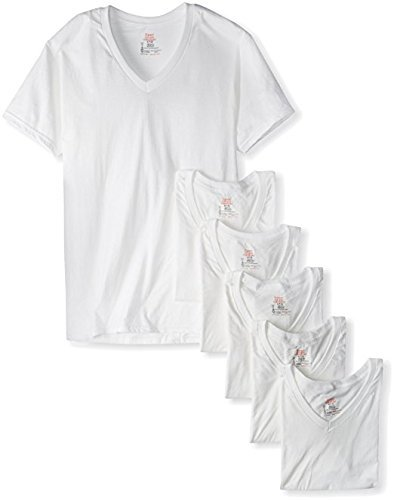 Hanes Men's Classic V-Neck T-Shirt 100% Cotton 6 Packs - White-6pack 2X-Large