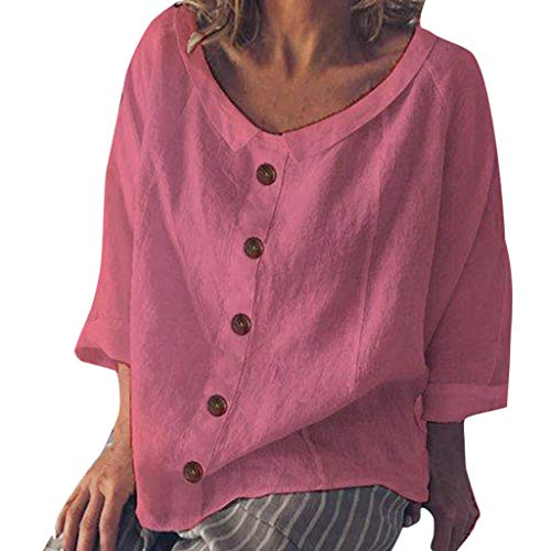Women Fashion Loose Cotton Linen Button Solid Daily Casual Shirt Blouse Tops
