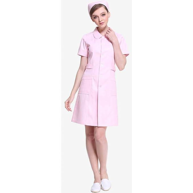 ESENHUANG Mujeres Blanco Rosa Azul Médica Ropa De Manga Corta Servicios Médicos Ropa De Enfermera Uniforme Algodón Proteger Lab Coat-M: Amazon.es: Ropa y ...