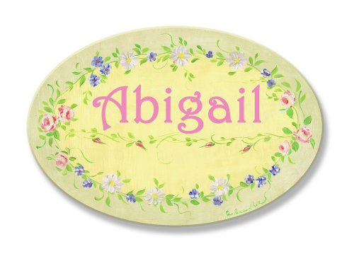 The Kids Room by Stupell Abigail, Yellow with Green Floral Border Personalized Oval Wall Plaque ()