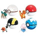 Super Catch PokEemon cosplay poke toy Ball fun play , 7 cms . ( 1 Random color ball ) + Free 1 Random mini toy character figure