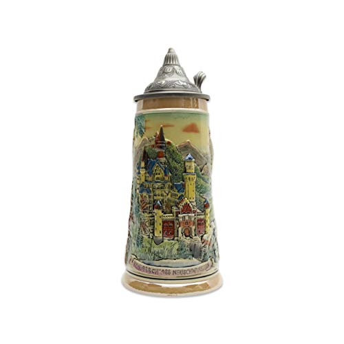 - Beer Stein Engraved Ludwig Castle Lidded Beer Mug by E.H.G. | 1.1 Liter
