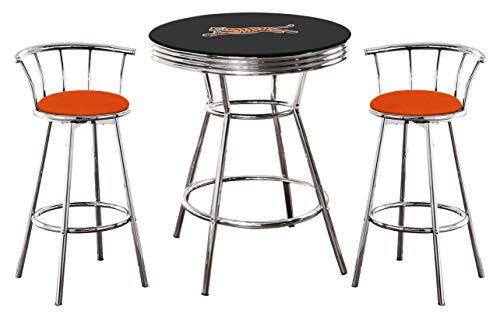 Tigers Chrome Bar Table - 3-Piece Set Black Pub/Bar Table with a Football Team Logo and Glass Top and 2-29