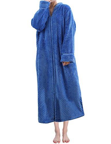 LAPAYA Women's Fleece Robe Calf Length Long Sleeve Fluffy Plain Zip Front Bathrobe, Royal Blue, Tag Size L=US Size (Fleece Housecoat)