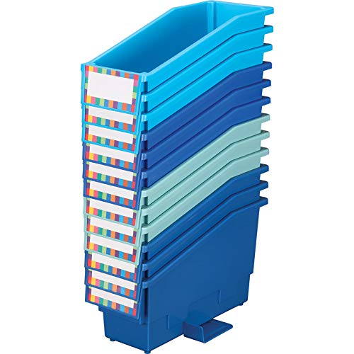 Really Good Stuff Non-Tip Book and Binder Holders, 5½'' by 13½'' by 7¾'' Overall (Set of 12, True Blue) - Book, Magazine, Folder Bins with Stabilizer Wings and Label Holder - Durable, Won't Fall Over by Really Good Stuff