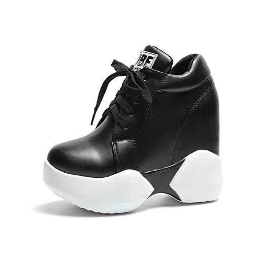 HOESCZS Chaussures Femmes en en Femmes Automne en Hiver Super Élevées l'augmentation De La Ceinture Un Soulier Simple Chaussures Compensées Une Épaisse Étudiante Chaussures Souliers Simple 36|Black 85644c