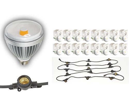 (16) TotalGrow TG1A Broad Spectrum LED Grow Light Bulbs bundle with (1) Multi-Socket Cord with 15-inch Socket Spacing and 16 Medium-Base Sockets (E26), 20 Foot, Black. by GoGrowLight