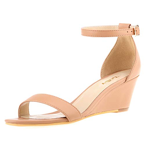 ZriEy Women's Low Heel Wedge Sandals Ankle Strap Buckle Mid Heeled Sandals 2 Inch Party Wedding Shoes Nude Size 5