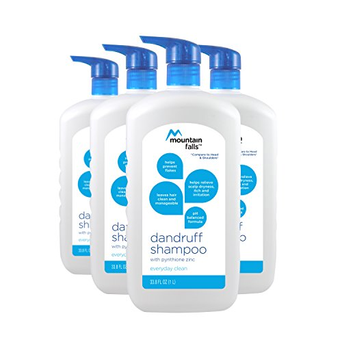 : Mountain Falls Dandruff Shampoo, Everyday Clean, Pump Bottle, Compare to Head & Shoulders, 33.77 Fluid Ounce (Pack of 4)