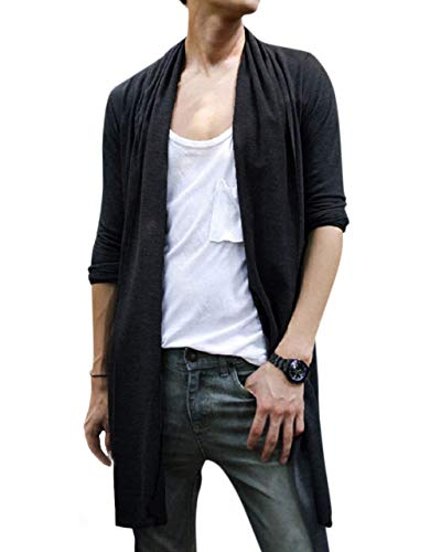 Men's Long Cardigan Shawl Collar Fashion Cape (L, Black) Athletics Office Work Simple Messenger Off time Room wear Street-wear Training Pro Washable