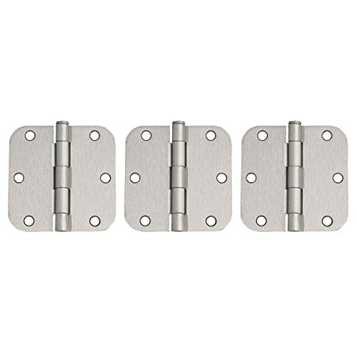 Door Reversible Hinge - 3 Pack of Corner Door Hinges 3-1/2 in. x 3-1/2 in. 5/8 in. Radius, Satin Nickel