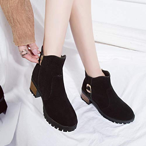 Boots Medium Shoes Heel Ankle Fashion Boots Suede Boot Toe with Block Martain Round Women Zipper Black Heeled Boots Theshy Casual High Faux wSzqt