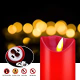 """YIWER Flameless Candles,Red 5.5""""/6""""/6.5""""/7""""/8"""" Set"""