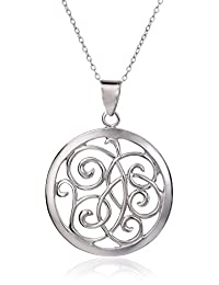 Sterling Silver Open Swirl Circle Pendant Necklace, 18""