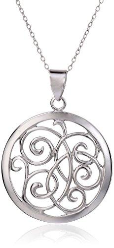 Open Silver Sterling Swirl - Sterling Silver Open Swirl Circle Pendant Necklace , 18