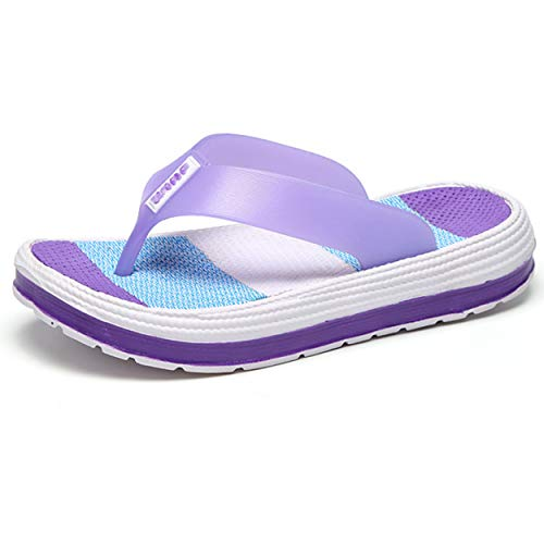 (Womens Flip Flops, Rubber Sole Thongs Non-Slip Sport Sandals Summer Beach Slippers Purple 38)