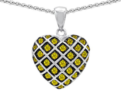 Star K Round Simulated Citrine Puffed Heart Pendant Necklace Sterling Silver (Puffed Sterling Star Silver)