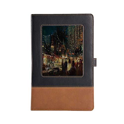 DIY Series Notebooks Night Rich Patterns and Various Styles Leather Notebook 8.6 6.1 Inches, A5