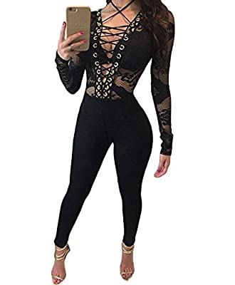 LEO BON Womens Club Party Lace-up Hollow-out Long Sleeves Fitted Jumpsuit