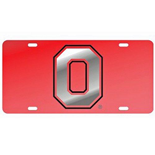 Ohio State Red Laser Cut License Plate - Alternate Logo