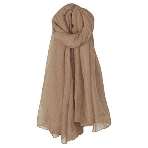 Linen Blend Scarf - Redriver Solid Color Cotton Linen Shawls, Elegant Long Scarf (Light Coffee)