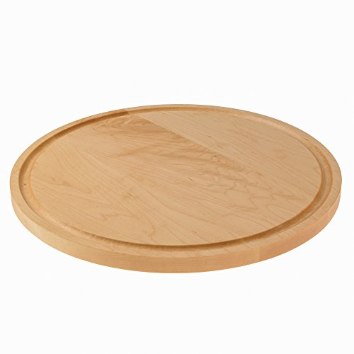 Round Maple Cutting Board with Juice Groove for Chopping, Serving and Carving. Reversible with Drip Groove for Food Prep, Meat, Fruit and Vegetables. Chopping Block for your CounterTop. - Maple Sushi Board