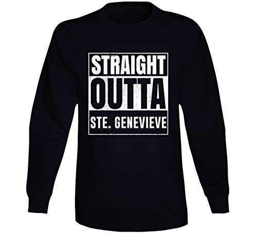 (Straight Outta Ste. Genevieve Missouri City Grunge Parody Cool Long Sleeve T Shirt M Black)