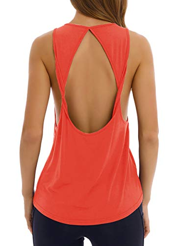 Fihapyli Women's Twist Open Back Yoga Shirts Activewear Sleeveless Workout Tops Sports Tanks Yoga Tops Loose Fit Workout Shirts Exercise Workout Clothes Muscle Style Tee Shirt Active Tops Coral L ()