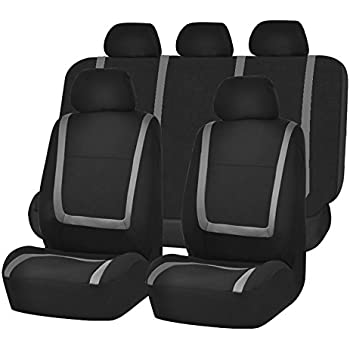 FH GROUP FB032115 Unique Flat Cloth Seat Cover W 5 Detachable Headrests And Solid Bench Gray Black Fit Most Car Truck Suv Or Van