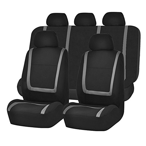 FH-FB032115 Unique Flat Cloth Seat Cover w. 5 Detachable Headrests and Solid Bench Gray/Black- Fit Most Car, Truck, Suv, or Van by FH Group