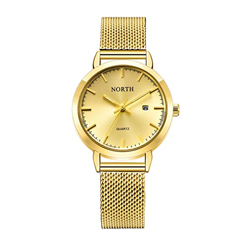 Womens Luxury Watch, Fashion Waterproof Stainless Steel Bracelet Analog Quartz Wrist Watches for Ladies (Gold) Analog Stainless Steel Bracelet